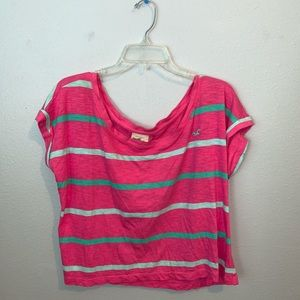 3/$25 Hollister pink striped off the shoulder top